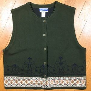 Pendleton Knit Wool Blend Vest Sz L Olive Green